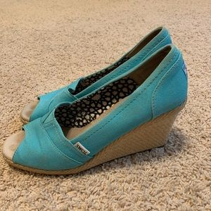 Toms Aqua Blue Wedges